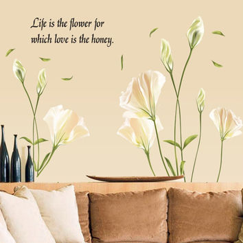 Lily Flowers Wall Sticker On The Wall VinYl Wall Stickers Gome Decor Bedroom Backdrop Wall Decals SM6