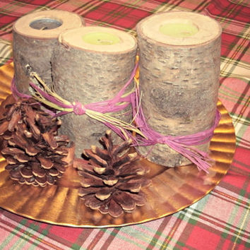 Set of three Wooden Log Candle Holder - Tealight Holders - Rustic Decor with Ribbon