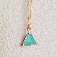 Triangle Necklace, Triangle Pendant Necklace, Geometric Pendant Necklace, Turquoise Green Triangle Necklace, Resin Jewelry, For Her