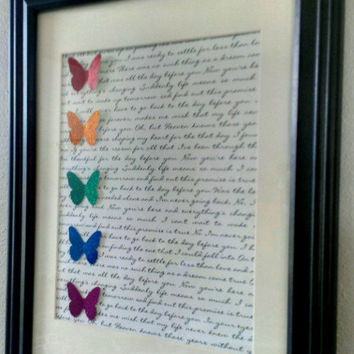 Rainbow Wedding or Anniversary Vows or Lyrics of First Dance Song Picture Art with Origami Butterflies glitter gift for civil ceremony lgbt