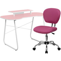 Pink Computer Desk with Monitor Stand and Mesh Chair