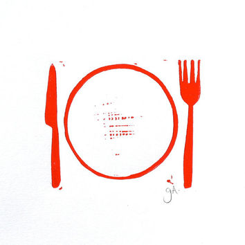 PRINT - fork and knife RED block print 8X10 letterpress poster