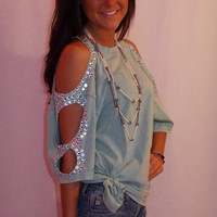 Rhinestone Open-Shoulder Top - Haute Pink Boutique
