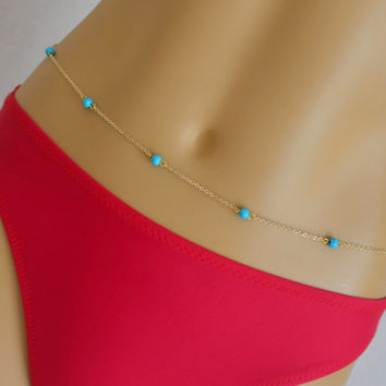 Gold belly chain featured turquoise beads -Beach jewelry - Body chain - Dainty jewelry - Waist chain - Turquoise belly chain