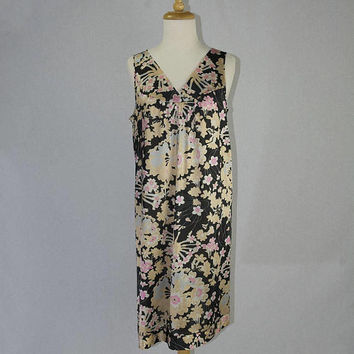 Vintage 1970s Mod Vanity Fair Babydoll Pink & Chocolate Floral Nightgown