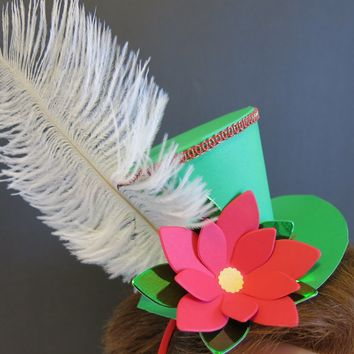Christmas Fascinator Hat Headband, Festive Paper Poinsettia Flower Accessory for Office Party