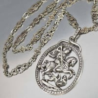 Antique Sterling Peruzzi Necklace St George Slaying Dragon