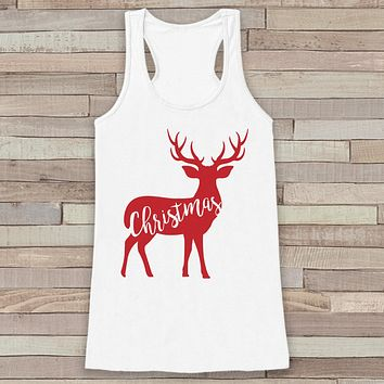 Reindeer Christmas Tank - Cute Adult Christmas Shirt - Winter Tank - Womens Tank Top - White Tank - Family Christmas Top - Holiday Gift Idea