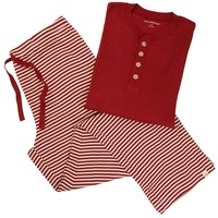 Burt's Bee Mens Henley Candy Cane Stripe Pajama Set