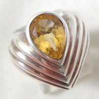 Estate Sterling Silver Citrine Gemstone Modernist Ring Sz 6.5