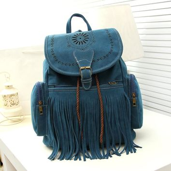 Vintage Drawstring Suede Leather Backpack Bags for women