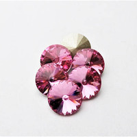 Six Rose 1122 8mm Foiled Swarovski Pointed Back Rivoli DKSJewelrydesigns