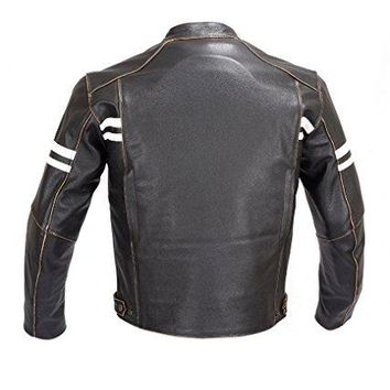 Men Motorcycle Vintage Hand Buffed Leather Armor Jacket Black MBJ031 (S)