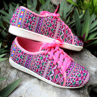 Funky Womens Sneaker Shoe In Hmong Embroidery Vegan Trainers