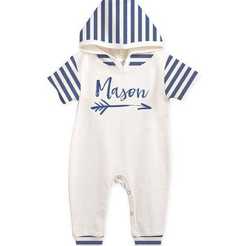 Ivory & Blue Stripe Personalized Hooded Playsuit - Infant