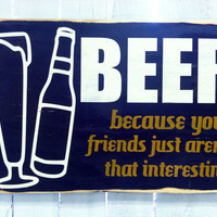 Fall Harvest Decor -Beer Typography Wood Sign