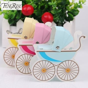 FENGRISE 10pcs Baby Shower Paper Candy Box Stroller Shape Birthday Party Decoration Kids Gift Boxes Boy Girl Wedding Favors