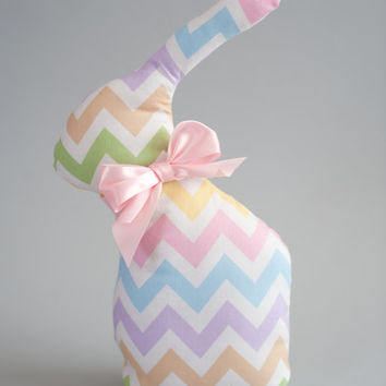 Stuffed Bunny, Bunny Toy, Soft Bunny, Baby Bunny, Baby Toy, Chevron Bunny, Easter Decoration, Pink bunny, Bunny decoration, Easter Bunny
