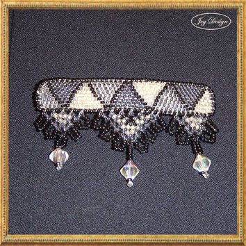BROOKE is a Vintage Barrette Decorated with Loomed Glass Seed Beads in Shades of Black, Gunmetal, Gray and Clear Glass
