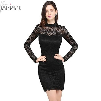 Sexy Sheer Black Lace Long Sleeve Short Prom Dresses 2017 Charming Scoop Neck Short Evening Party Dresses Vestido de Festa Curto