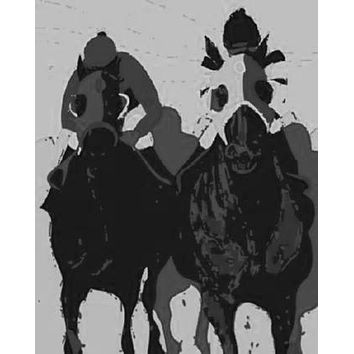 "Horse Racing Pop Art Poster Black and White Poster 16""x24"""