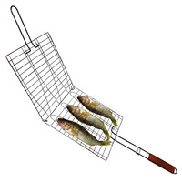 Evelots Wire Non-Stick Triple Fish & Vegetable Basket Wood Handle, Grilling Tool