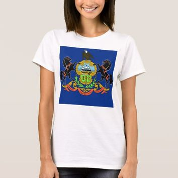 Women T Shirt with Flag of Pennsylvania State