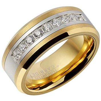 8mm Tungsten Carbide Ring 18k Gold Fashion Luxury Cubic Zirconia Inlay Wedding Engagement Band