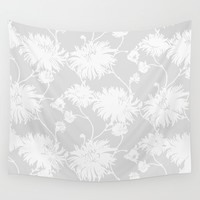 White Floral Poms Wall Tapestry by All Is One