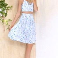 Diaz Two Piece Set Blue Floral