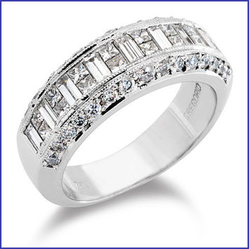 Gregorio 18K White Gold Diamond Wedding Band R-218