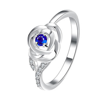 Petite Mock Sapphire Blossoming Floral Ring