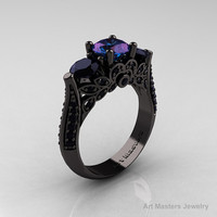 Classic 14K Black Gold Three Stone 2.0 Ct Chrisoberyl Alexandrite Black Diamond Solitaire Ring R200-14KBGBD2AL