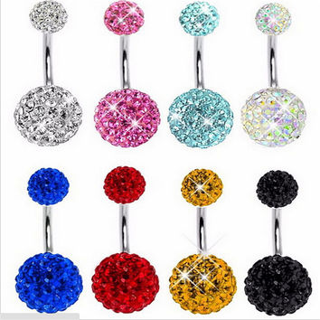 2016 Trendy Navel Piercing Jewelry Sexy Crystal Disco Shaballa Stainless Steel Belly Button Rings Body Jewelry Pircing Ombligo