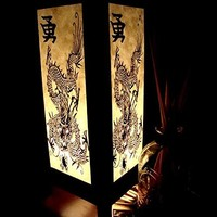 Chinese Dragon White Black Table Lamp Lighting Shades Floor Desk Outdoor Touch Room Bedroom Modern Vintage Handmade Asian Oriental Wood Bedside Gift Art Home Garden Christmas; Us 2 Pin Plug #404
