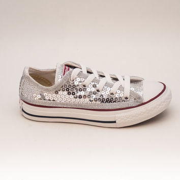 Youth | Sequin | Silver Canvas Low Tops Sneakers Tennis Shoes