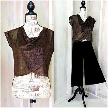 80s bronze gold sequined crop top / sheer /  layered / retro / disco / party / size M