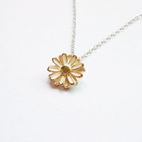 Gold White Daisy Flower Necklace - Gift for Her - Gift under 15