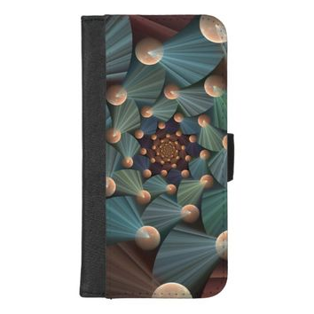Modern Fractal Art With Depth, Brown, Slate, Blue iPhone 8/7 Plus Wallet Case