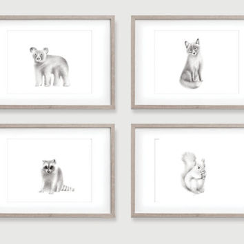 Woodland Nursery Animals, Set of 4 Prints, Baby animals, Grey nursery art, Mix and Match, Pencil Drawing, Animal Art, Childrens Wall Decor