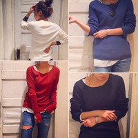 Round-neck Knit Tops Stretch Split Sweater Bottoming Shirt [9605146703]
