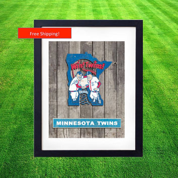 1984 Vintage Minnesota Twins World Series Jersey Logo Poster Man Cave Baseball MLB Gift for Him Fathers Day Art Framed Poster Northwoods