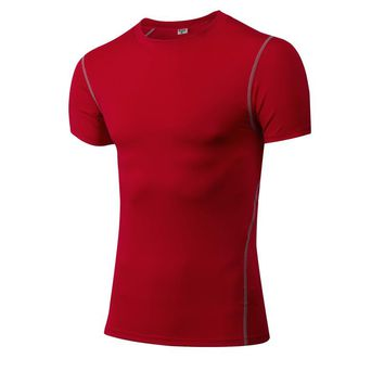 2018 Brand New T-Shirt Men Sport Tops Training Clothes Male Quickly Dry Compression Gym Wear Fitness Red Running Shirt