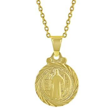 18k Gold Plated San Benito St Saint Benedict Small Medal Kids Necklace 16""