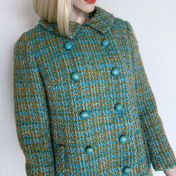 60s Lord & Taylor Vintage Jacket - Tailored Wool - Young New Yorker - Mad Men - Aqua Olive Green - Small