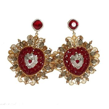 Dolce & Gabbana Red Heart Gold Brass ClipOn Earring