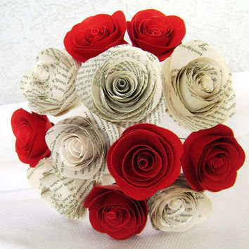 "2"" spiral book page roses with 2"" spiral red roses one dozen paper flowers bouquet for Valentines or wedding toss rehearsal  bouquet"