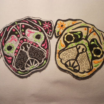 2 Pug Patches BLack and Tan  Cute Patch Sugar Skull Dog Animal Pretty embroidery Kids Patch Colorful patch
