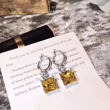 Luxury Brand Big Crystal Square Stone Drop Earring 925 Sterling Silver Fine Jewelry For Women Wedding Party  No Change Color