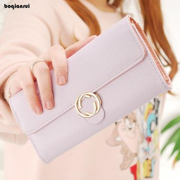 Business PU Women Wallet Portable Multifunction Long Wallets Female Solid Change Purse Lady Hasp Coin Purses Card Holder Cartera
